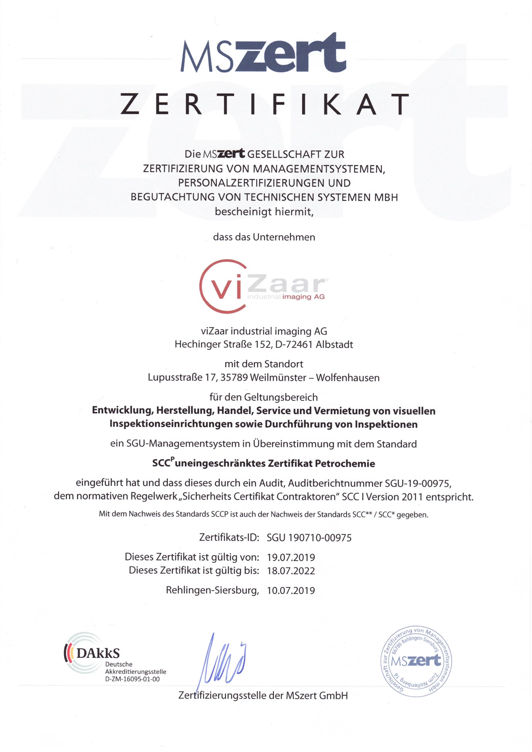 SCCP Zertifikat